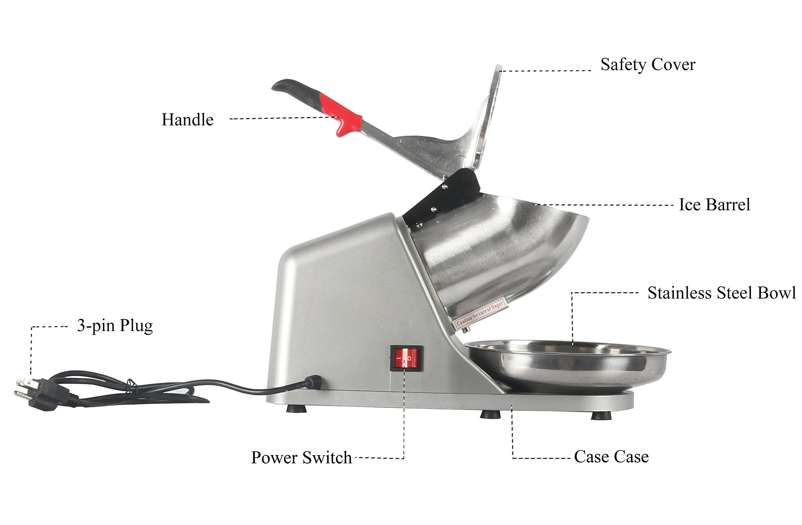 JOO LIFE Electric Ice Shaver Machine, Snow Cone Maker Shaved Ice Machine, Ice Crushers Home Commercial Use Silver 143lbs/hr (300W) by JOO LIFE (Image #5)