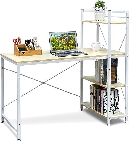 HOMFA Mesa de escritorio Mesa ordenador Movable Escritorio para ...