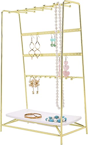 Simmer Stone Jewelry Stand 4 Tier Jewelry Organizer Holder Decorative Jewelry Storage Hanger Display With Tray For Rings Bracelets Necklaces Earrings Gold Amazon Ca Jewelry
