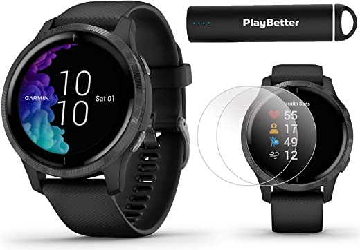 Garmin Venu GPS Smartwatch (Black/Slate) Power Bundle | 2019 Model | +HD Screen Protectors (x4) & PlayBetter Portable Charger | AMOLED Display, Spotify