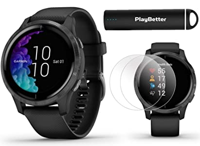 Garmin Venu GPS Smartwatch (Black/Slate) Power Bundle | 2019 Model | +HD Screen Protectors (x4) & PlayBetter Portable Charger | AMOLED Display, Spotify
