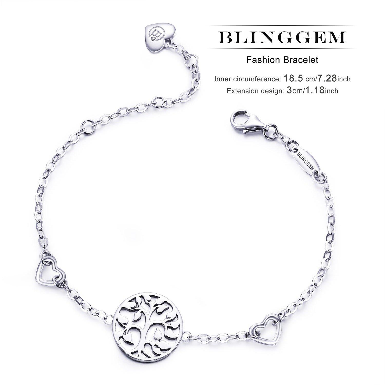 BlingGem Tree of Life Bracelet Meaningful Charm 925 Sterling Silver White gold plated Chain Bracelet-Jewellery for Women PjVHODblE8