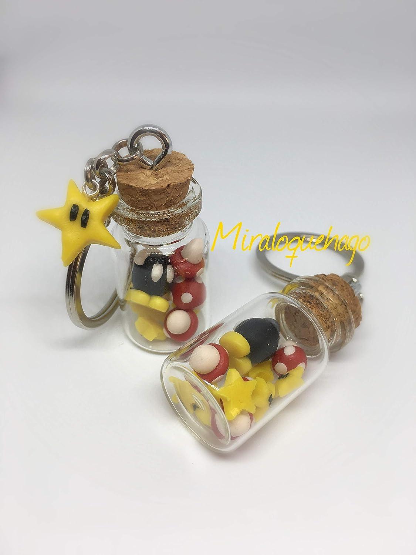 Llavero tarrito de personajes de Mario Bros: Amazon.es: Handmade