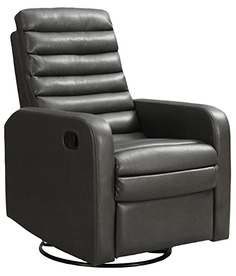 Groovy Monarch Specialties I 8086Gy Bonded Leather With Single Recliner Swivel Glider Bralicious Painted Fabric Chair Ideas Braliciousco