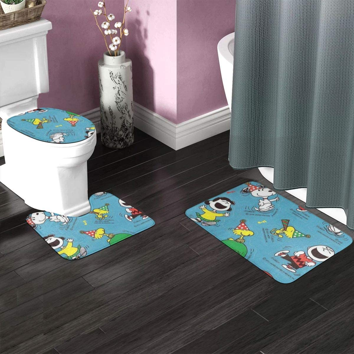 Sleeping-Snoopy Bathroom Antiskid Pad Astronaut Snoopy Toilet Cover Mat Non-Slip Floor Mat Rug Bathroom 3 Sets