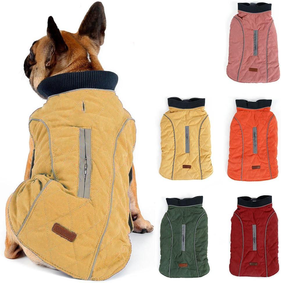 Pink XS Dog Coat Warm Padded Puffer Vest Puppy Jacket with Fleece TFENG Reflective Dog Jacket