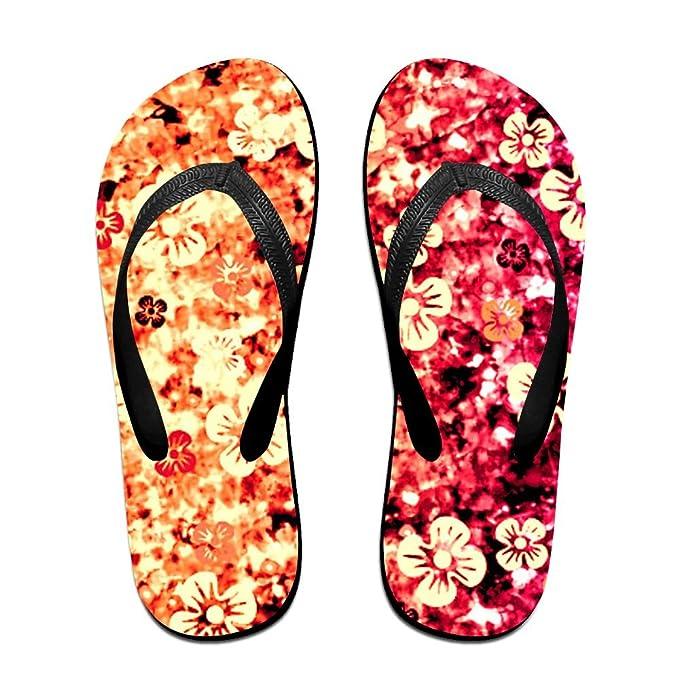 Orange Flower Pattern Beach Slippers Platforms Sandal Summer Strap Flip Flops For Men Women