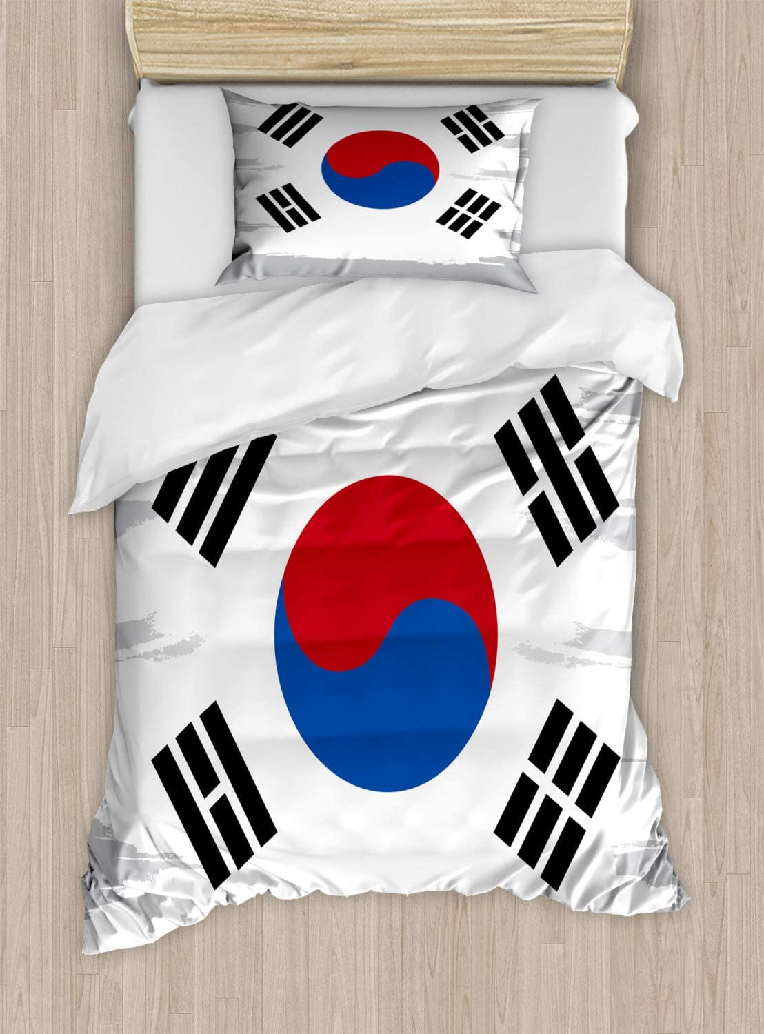 Ambesonne Korean Flag Duvet Cover Set, Grunge Brush Paint On Backdrop Effect, Decorative 2 Piece Bedding Set With 1 Pillow Sham, Twin Size, Pale Taupe Dark Pink Cobalt Blue Charcoal Grey