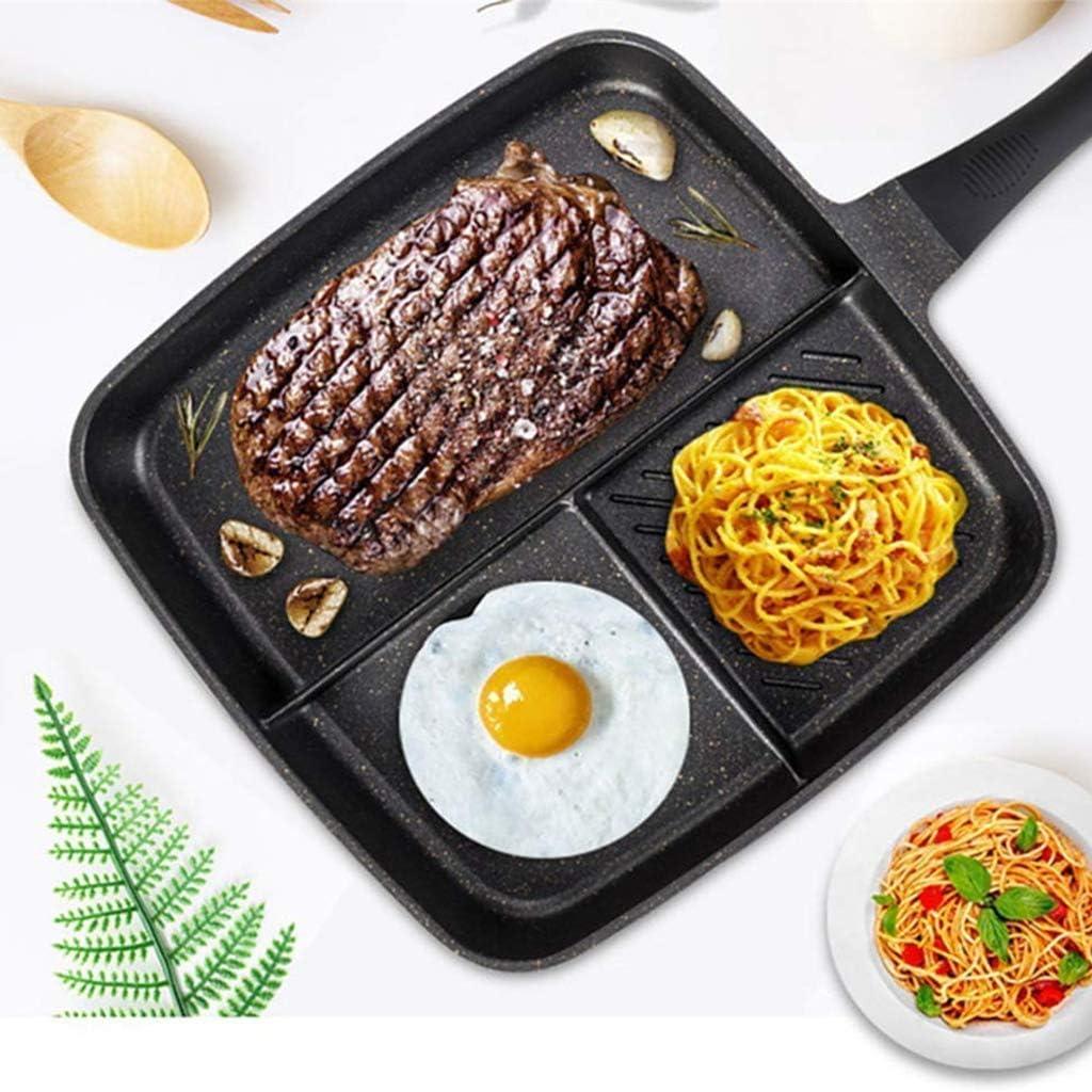XYNB Maifan Stone Sartén Antiadherente 3 en 1 Sartén Multifuncional para cocinar Huevos fritos Desayuno Filete Sartén Utensilios de Cocina multifunción, Rosa, Rojo Red