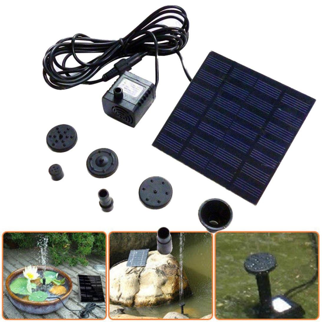 Vanvler Clearance ! Solar Fountain 1.2W 7V Panel Water Pump Fountain Kit Pool Garden Pond Submersible (Black)
