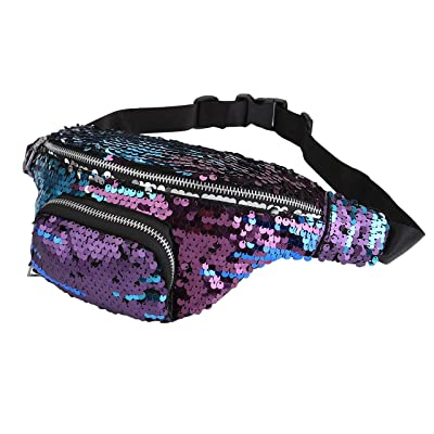 b4808128d7 CHIC DIARY Sequin Fanny Pack PU Leather Waist Bag Glitter Paillette Bum Bag  for Women good
