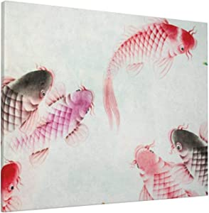 Canvas Wall Art Home Decorations, Chinese Carp Painting Wall Decor Artwork for Walls, Wall Decorations for Living Room Bedroom Frameless Wall Hanging Decor Paintings 20x16 Inch