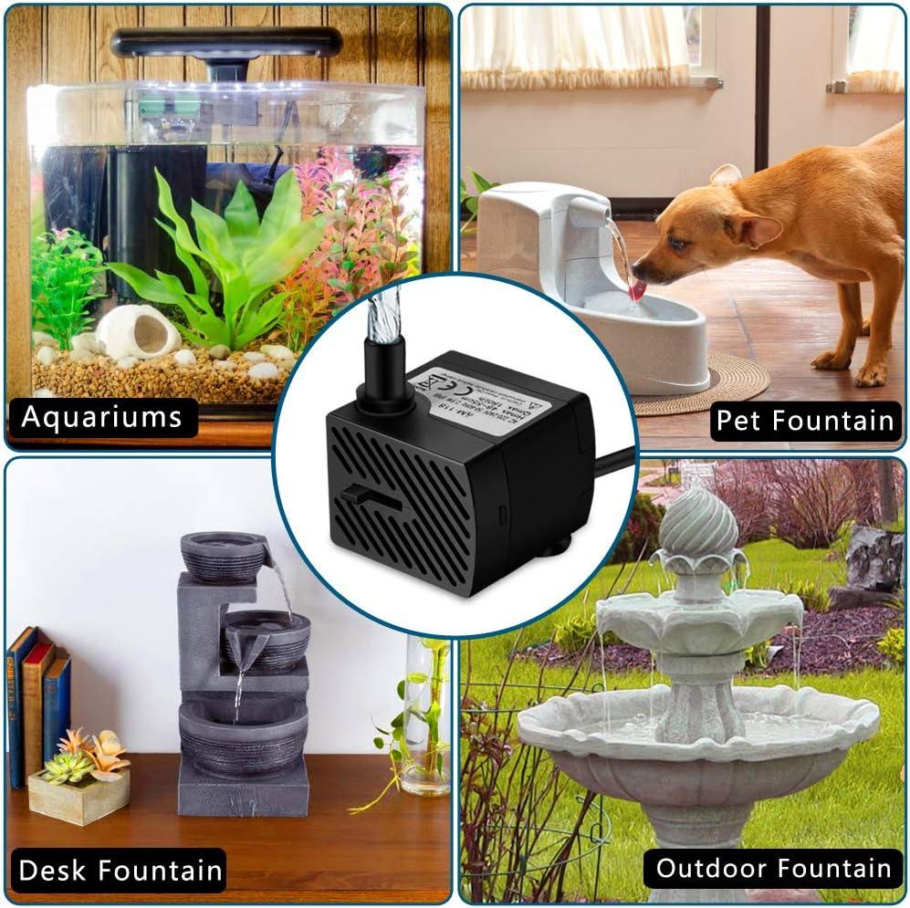 Tabletop Fountain Water Features Statuary Aquariums Fish Tank Ample USB Plug DC 5V Mini Pet Fountain Replacement Pump for Cat Fountain Dog Founntain Bird Bath