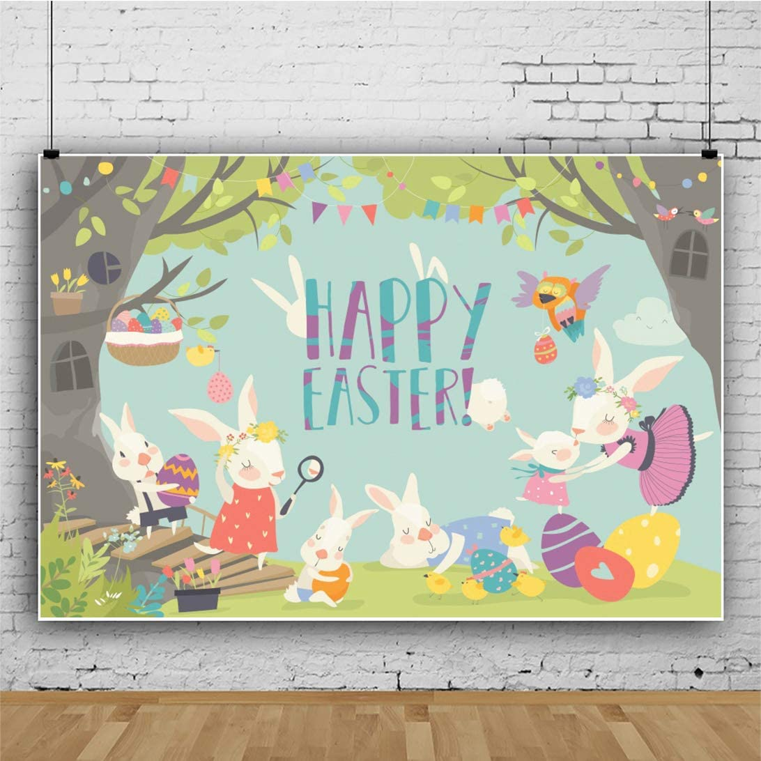 DORCEV 8x6ft Happy Easter Backdrop Easter Egg Hunt Party Photography Backdrop Cartoon Bunny Colorful Eggs Spring Forest Easter Egg Dyeing Party Cake Table Banner Child Adult Photo Studio Props
