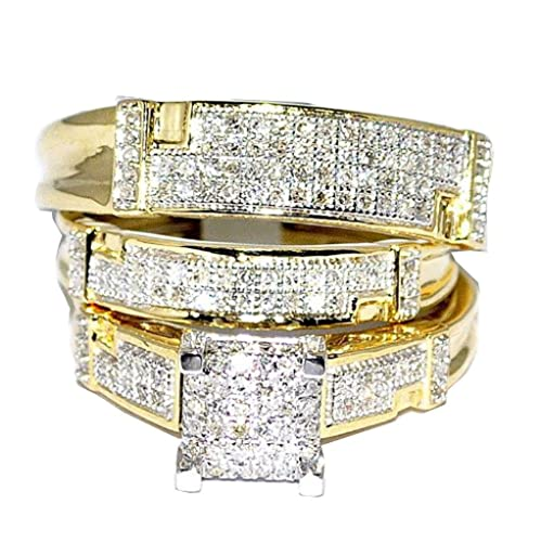 Amazon.com: Trío de diamantes boda Set 10 K oro amarillo su ...