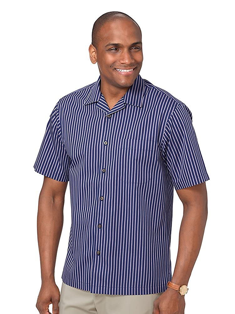 1950s Mens Shirts | Retro Bowling Shirts, Vintage Hawaiian Shirts Paul Fredrick Mens Slim Fit Non-Iron Cotton Stripe Camp Collar Casual Shirt $59.50 AT vintagedancer.com