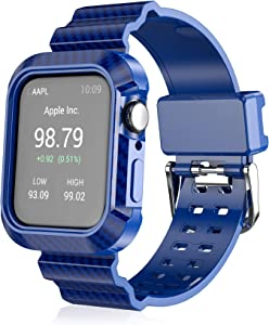 HANKN Band Case Compatible with Apple Watch Series 1/2/3/4/5/6/SE 38mm 40mm, Armor Rugged Strap Bumper Iwatch Replacement Wristband Cover (Blue, 38mm/40mm)