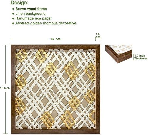 45Min 16-Inch Handmade Paper Art Shadow Box, 3D Abstract Framed Sculpture Wall Art Decor, Contemporary, White Gold, Rhombus Space