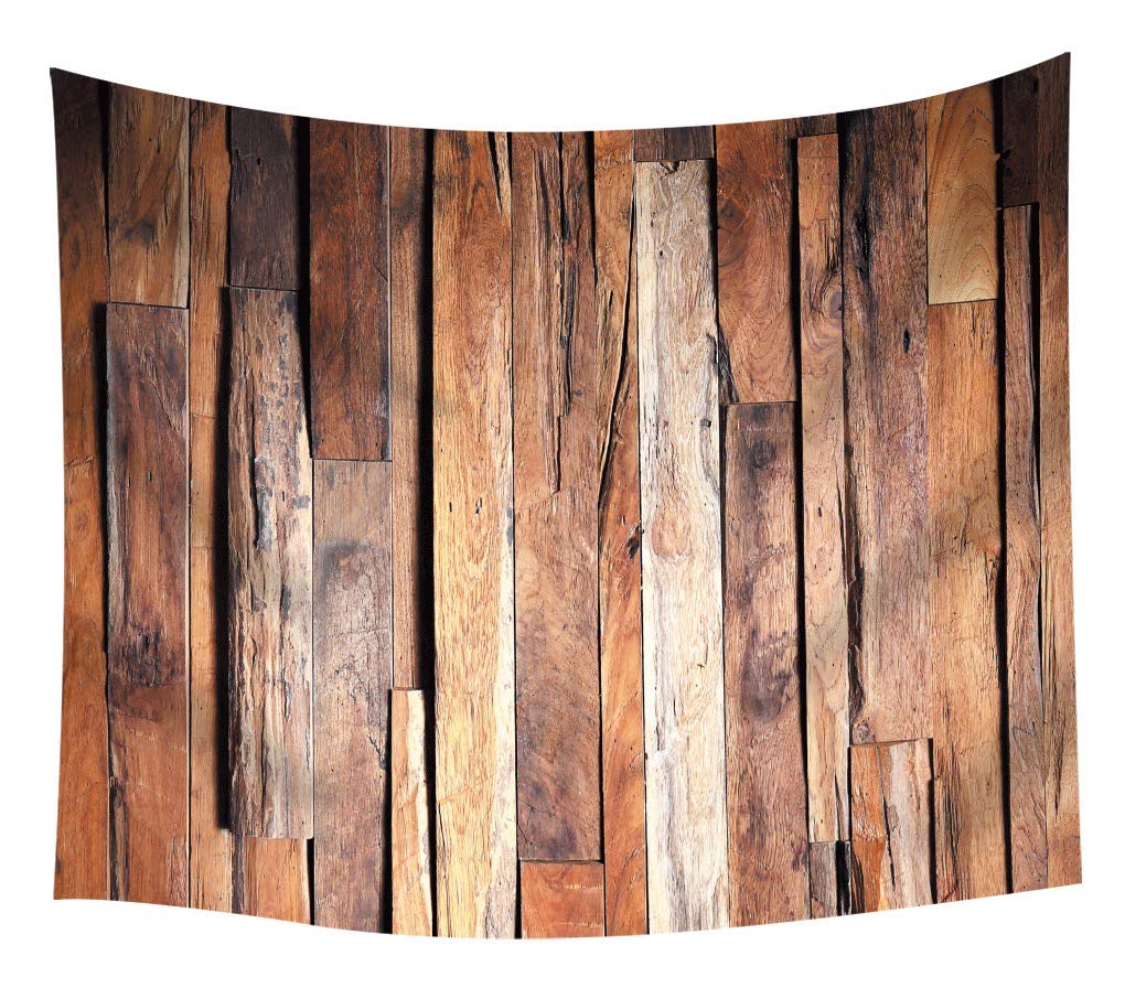 Natural Rustic Wood Tapestry Grunge Brown Wooden Barn Planks Tapestry Wall Hanging Art Print Home College Dorm Decor Wall Blanket Tapestries Living Room Bedroom Bohemian Bedspread Ceiling Room 80''x60''