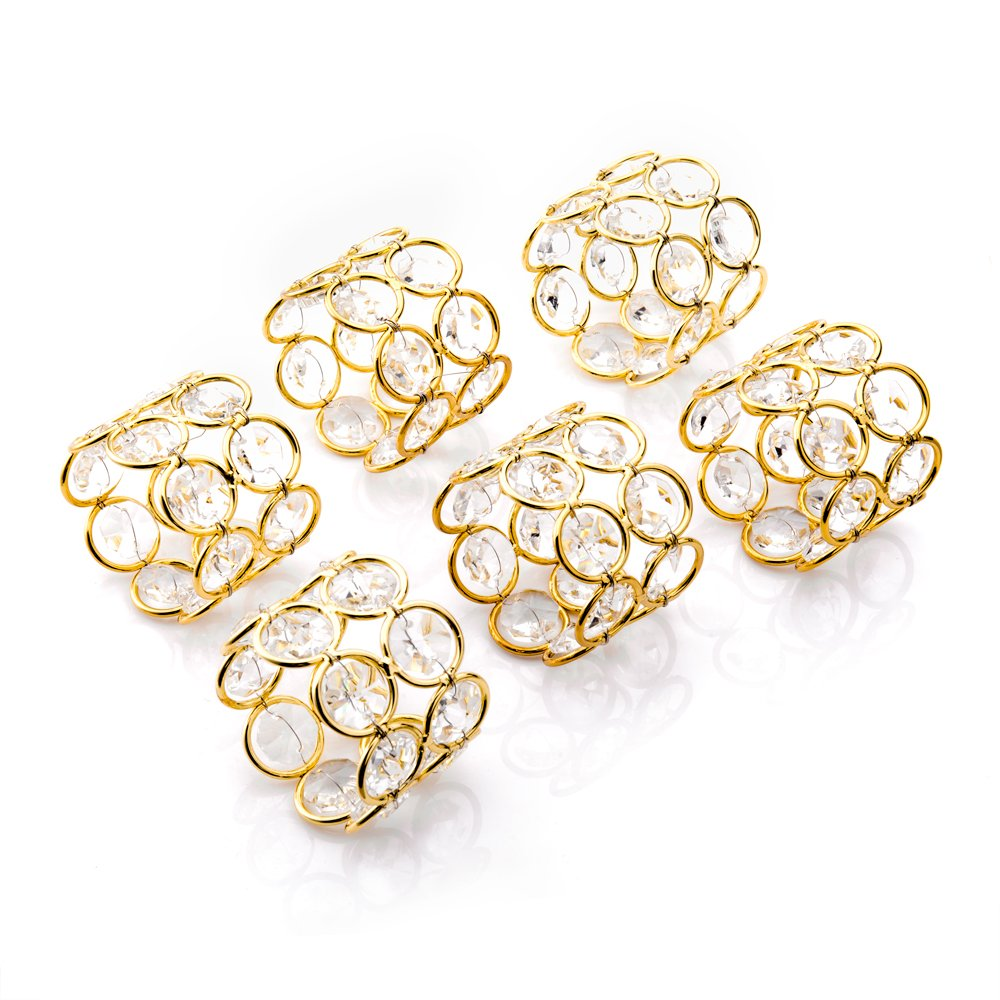 Feyarl Sparkly Gold Napkin Rings Crystal Beads Napkin Holders 6 pcs for Wedding Centerpieces Special Occasions Festival Celebration (Gold)