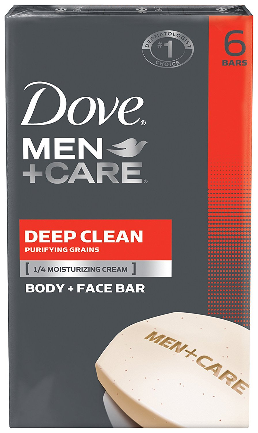 Dove Men+Care Body and Face Bar, Deep Clean 4 oz, 6 Bar