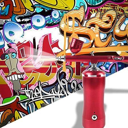 HXZB Kit Airbrush Portable avec Pompe De Pulv/érisation Pen Mini Compresseur dair pour lart Peinture Mod/èles Tatouage G/âteau Artisanats Voiture Pulv/érisation,Rouge