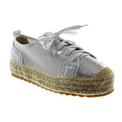 33d4668eea4fb Angkorly Damen Schuhe Sneaker Espadrilles - Plateauschuhe - Perforiert -  Seil - Glänzende Flache Ferse 3.5 cm