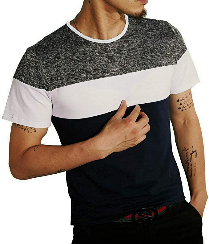 LOGEEYAR Mens Slim Fitted Casual Short//Long-Sleeve Button T-Shirts Contrast Color Stitching Tee