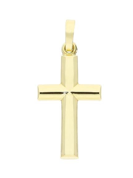 Echt Gold Kreuz Anhänger Baby Taufe Kette Gold Double Für