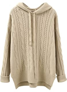 c113331981 Doballa Women s Drawstring Loose Cable Knit Twist High Low Pullover Hooded  Sweater