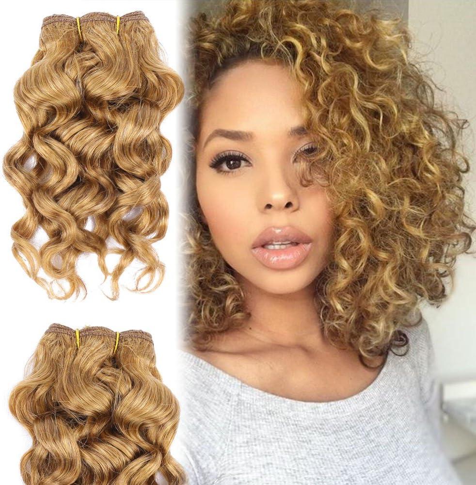Honey Blonde Deep Curly Wave Bundles With Closure Brazilian Virgin Short Hair Extensions 8 Inch Cheap Bob Weave Human Hair Amazon Co Uk Beauty