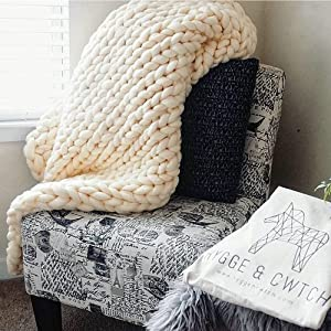 Hygge & Cwtch Chunky Knit Throw Blanket | Giant Yarn Hand Knitted Soft Blankets Free Storage Bag | Vegan Boho Accent Decor Neutral Home Farmhouse Modern Scandinavian (50
