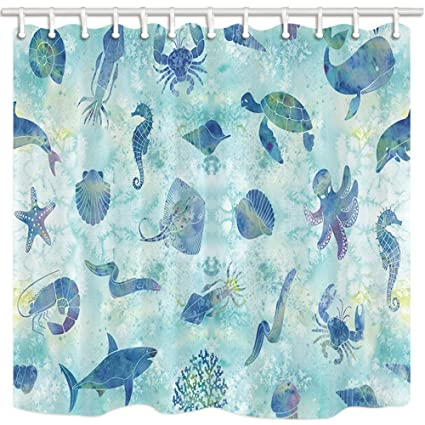 HiSoho Marine Life Shower Curtains For Bathroom Watercolor Ocean Animals In Deep Water