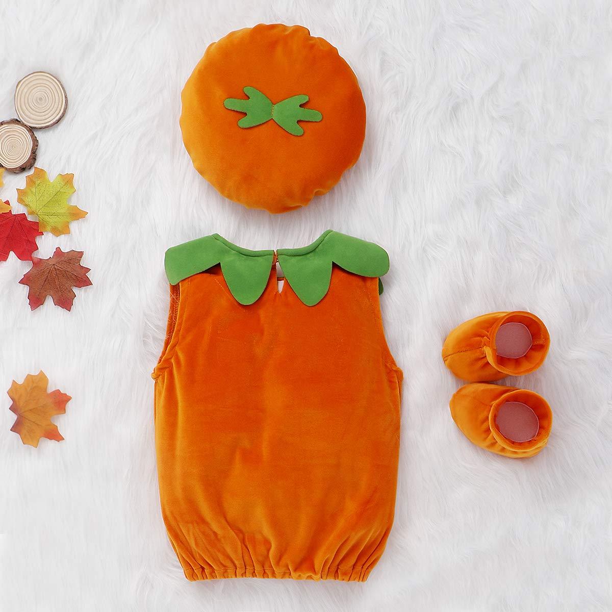 vpuquuz Baby M/ädchen Jungen Halloween Cosplay Kost/üme K/ürbis Strampelm/ütze 3 St/ück s/ü/ße Outfits