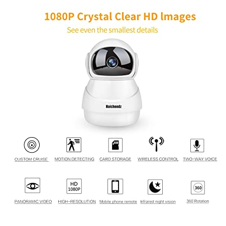 1080P Home Wireless Camera, WiFi Camera Haichendz HD IP Indoor Security Surveillance System Pan Tilt Two-Way Audio Night Vision Baby Elder Pet Nanny Monitor White
