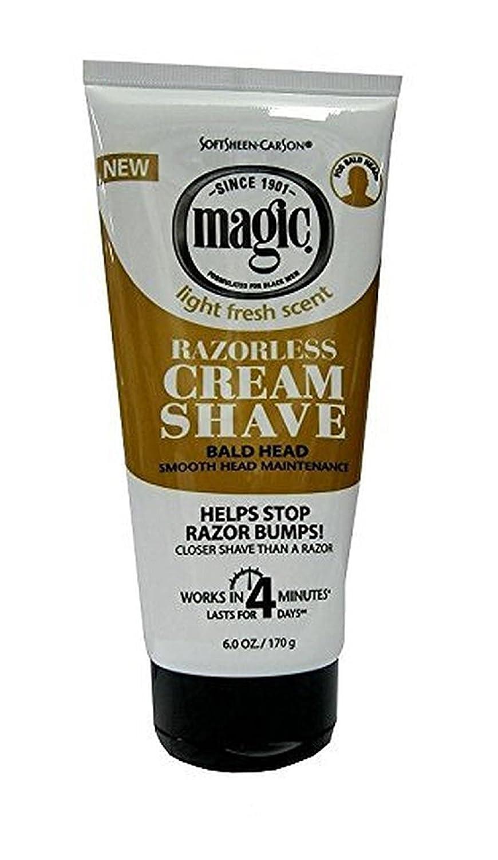 Magic Razorless Cream Shave Light Fresh Scent 6oz Tube (3 Pack)