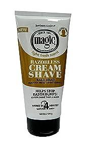 Magic Razorless Cream Shave Bald Head 6 Ounce Tube (177ml) (3 Pack)