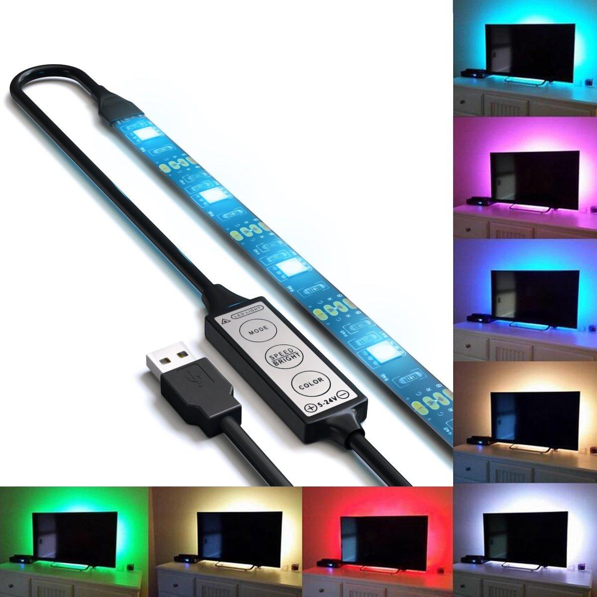 Autai LED Backlight Accent Night Light Bias Lighting for HDTV USB LED Strip Normal Bright White Backlight Kit for Flat Screen TV LCD Desktop PC
