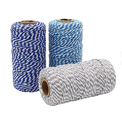 Tenn Well Cotton Bakers Twine, 3 Rolls 984 Feet Cotton String Rope for Baking, Gift Wrapping, Arts and Crafts (328Feet / Roll) : Office Products