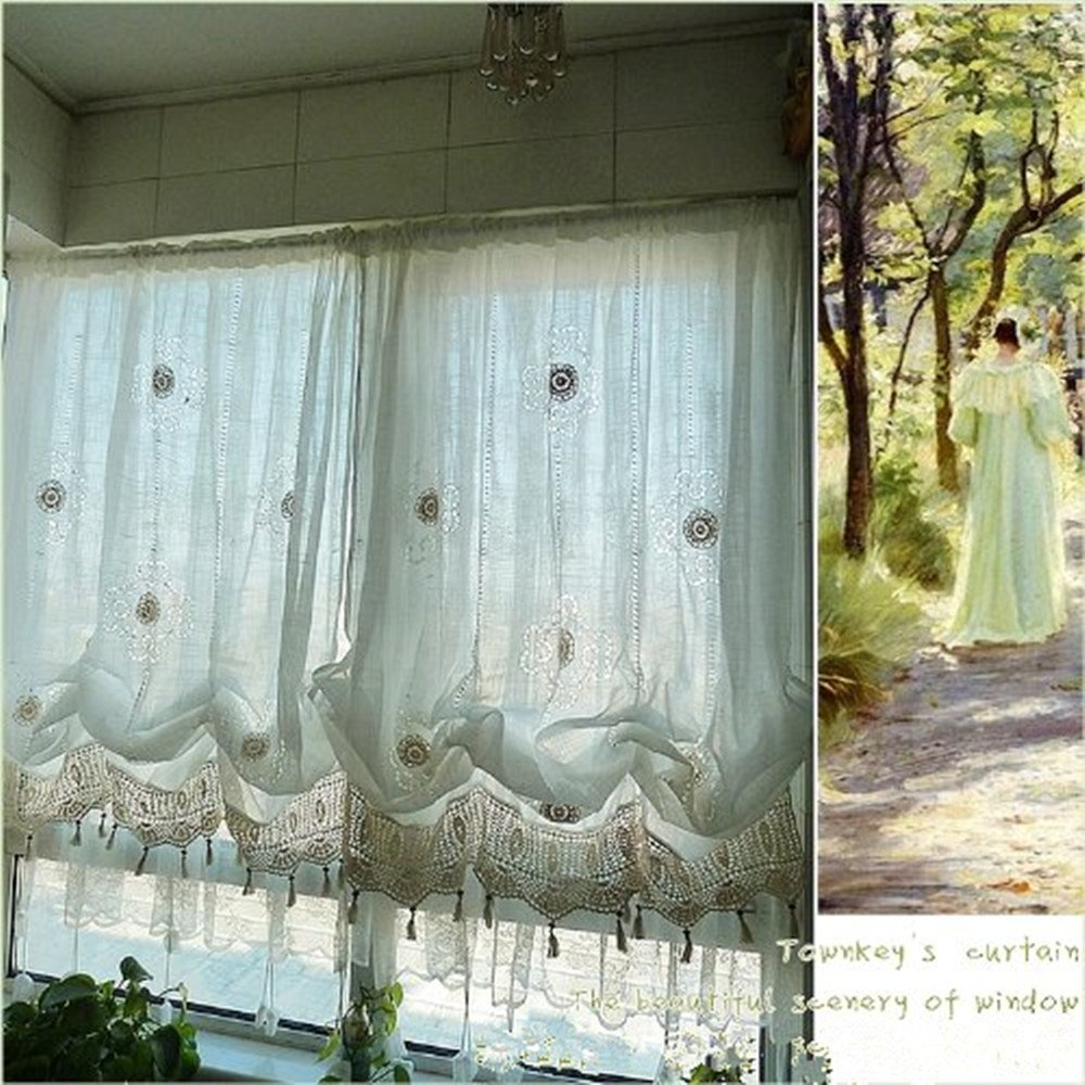 Hook Style Adjustable Balloon Living Room Curtain with Lace Abreeze Rustic Flowers Embroidery Girls Curtains Off-White