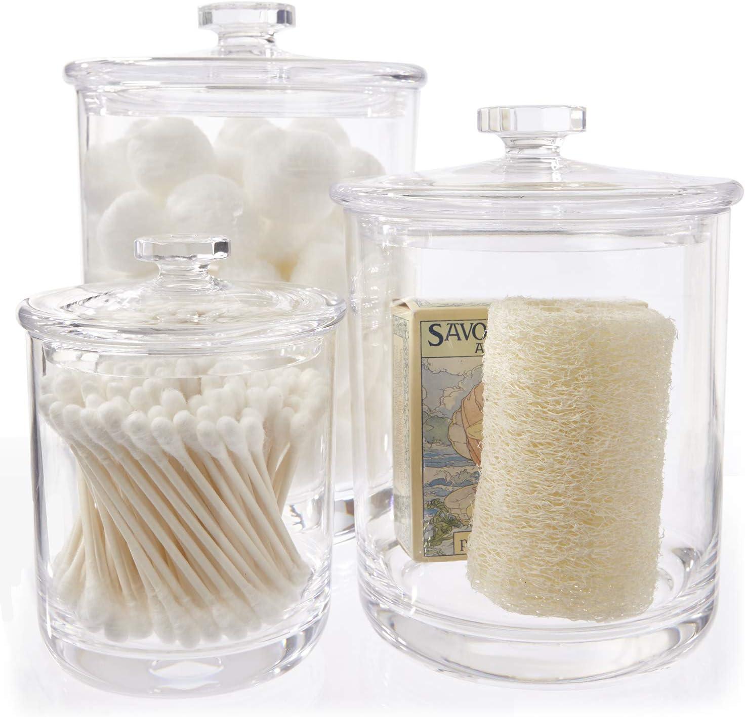 Set of 3 Multi-purpose Acrylic Holder Premium Quality Apothecary Jars Organizers