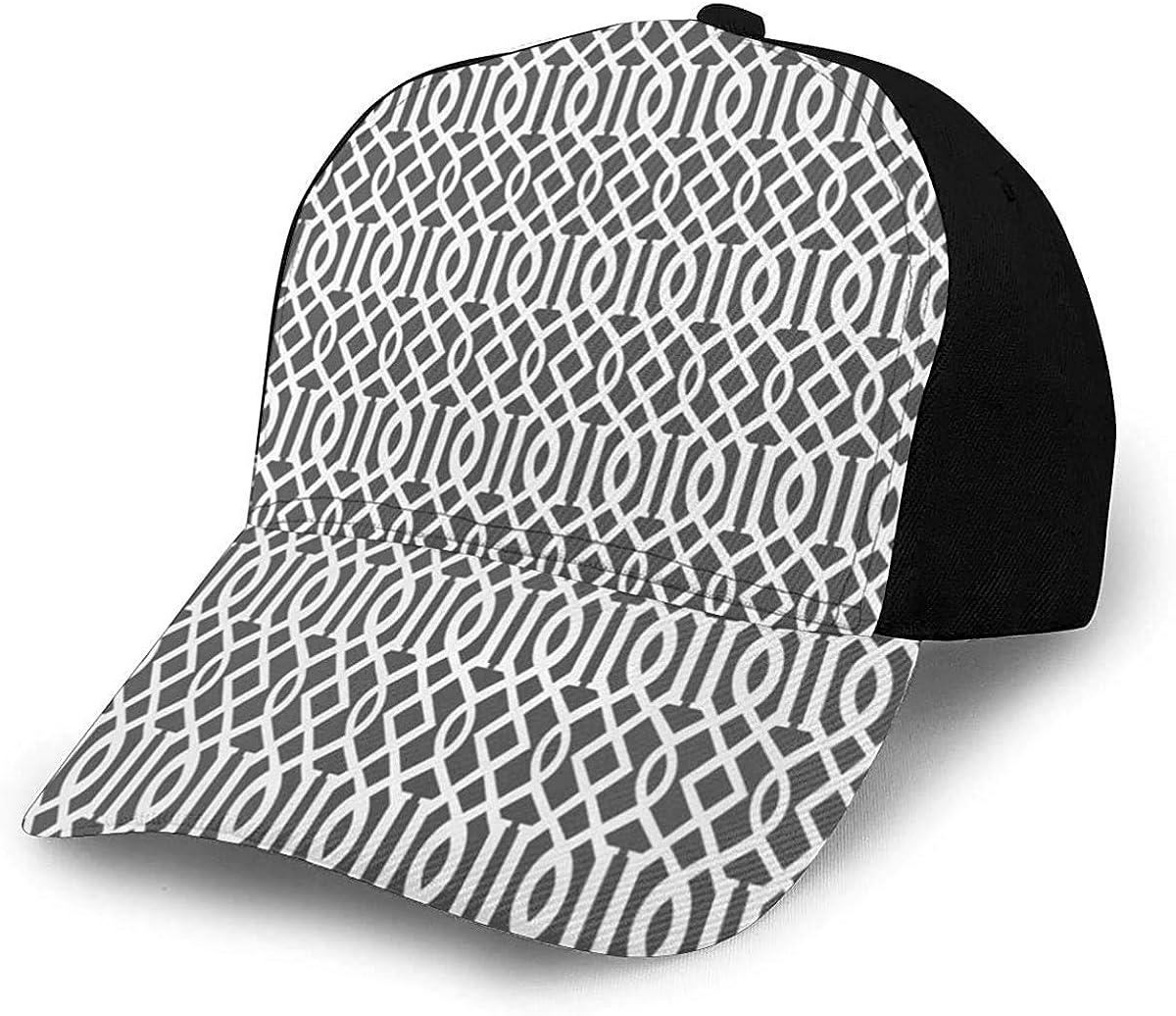 White Imperial Trellis Lightweight Unisex Baseball Caps Adjustable Breathable Sun Hat for Sport Outdoor