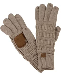 07a5c720745c4 C.C Unisex Cable Knit Winter Warm Anti-Slip Touchscreen Texting Gloves