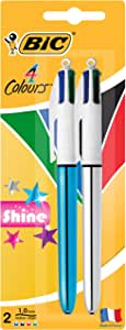 BIC 954331 4 Colours Shine Retractable Ball Pen Medium Point (1.0 mm) - Blue and Silver Bodies, Pack of 2 Pens