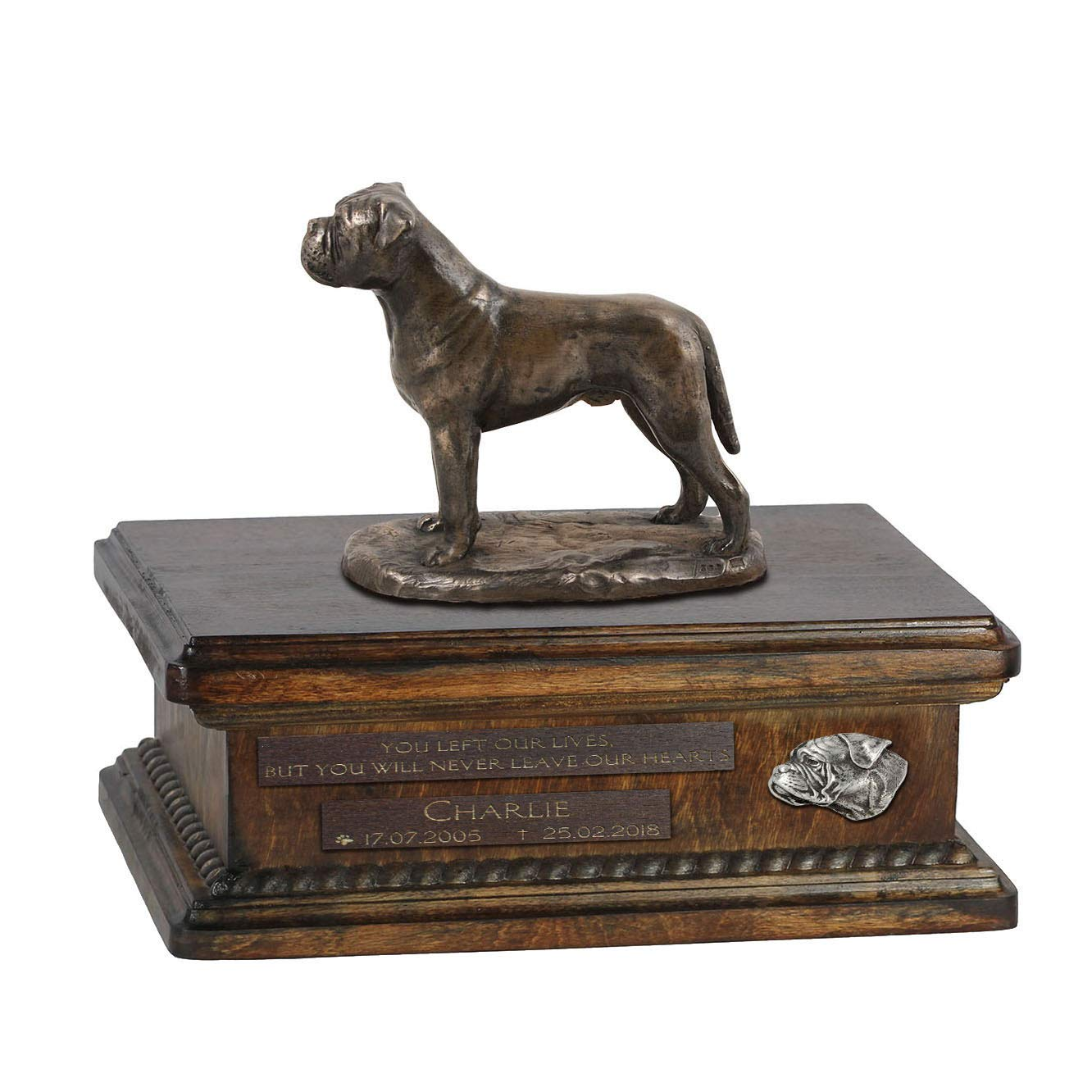 Bullmastiff, Urn for Dog Ashes Memorial with Statue, Pet's Name and Quote ArtDog Personalized