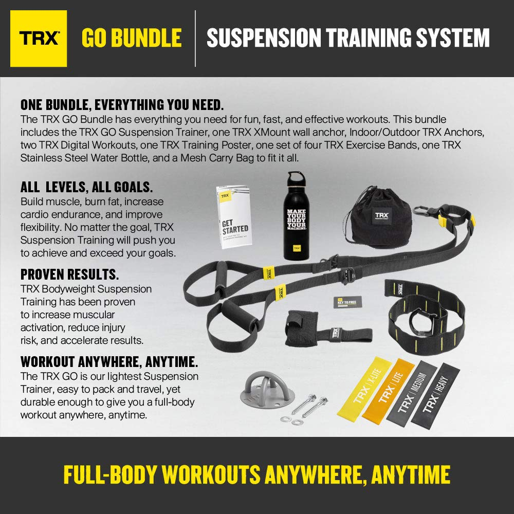 TRX GO Bundle Training Set of 4 Mini Bands /& TRX Training Stainless Steel Water Bottle Training Xmount Includes GO Suspension Trainer