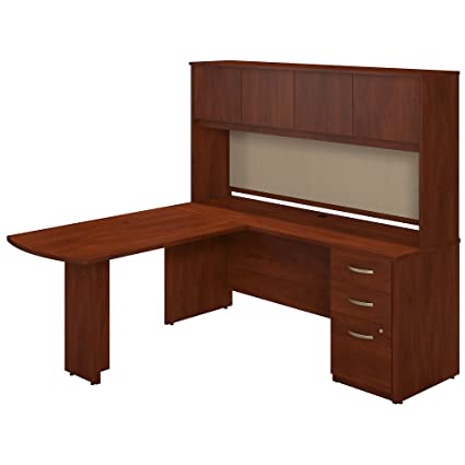 Hutch and Storage in Hansen Cherry Office Products Furniture Sets Bush Business Furniture Series C 72W L Shaped Desk with 48W Height Adjustable Return