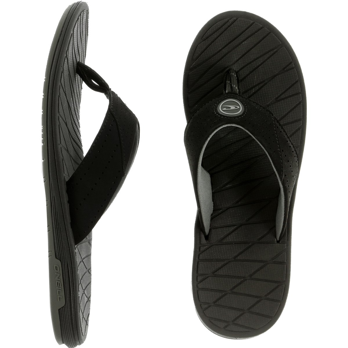 O'Neill Men's Traveler Sandal Flip Flop, Black/Grey, 9 M US