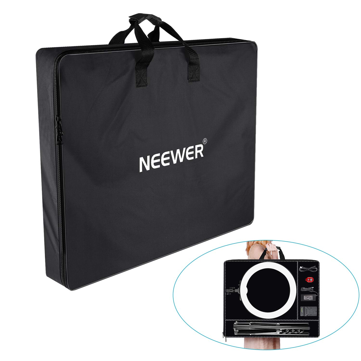 Neewer Enlarged Carrying Bag for 18 inches Ring Light, Light Stand, Accessories - 29.5x23.6 inches/75x60 Centimeters Protective Case, Durable Nylon,Light Weight (Black) by Neewer