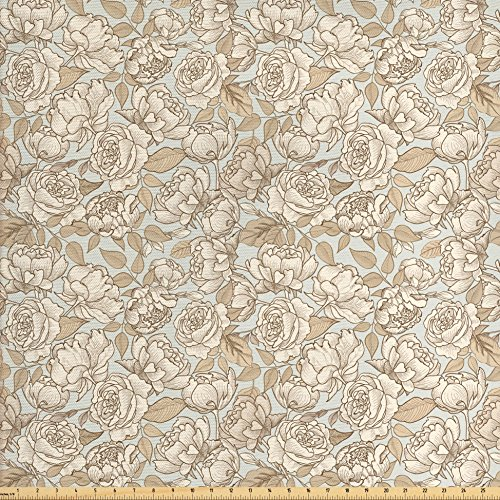 - Ambesonne Beige Fabric by The Yard, Floral Ornamental Pattern with Wedding Bouquet Blossoming Nature Botanical Print, Decorative Fabric for Upholstery and Home Accents, Dust Beige Tan